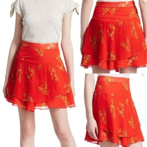 NWT Derek Lam Floral Pleated Mini Skirt. Sz8